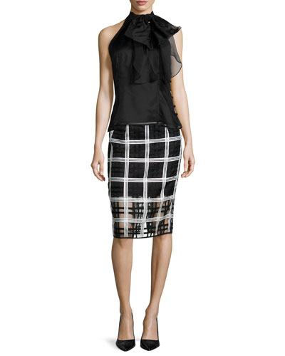 Gwyneth Silk Organza Halter Top & Plaid Organza Pencil Midi Skirt