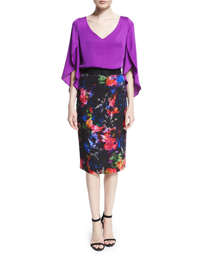 Silk V-Neck Butterfly-Sleeve Blouse & Floral-Print Pencil Skirt
