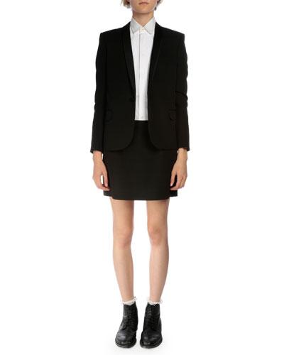 Shawl-Collar Tuxedo Jacket, Long-Sleeve Pintucked Poplin Tuxedo Shirt & Tuxedo-Striped Wool Mini Skirt