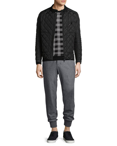 Lalay Quilted Moto Jacket, Buffalo-Check Wool-Blend Sweater & Flannel Wool Cuffed Pants
