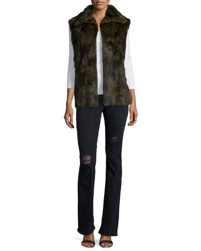 Janis Fur Vest & Jackson Distressed Boot-Cut Jeans