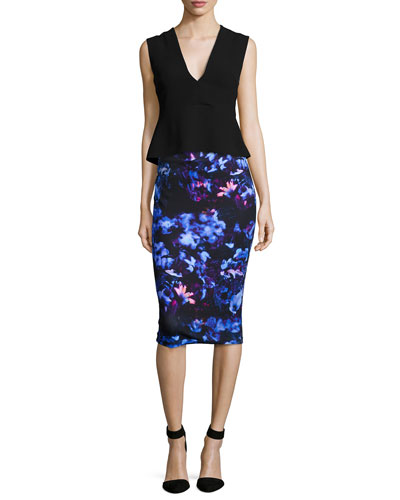 Deep V-Neck Peplum Top & Floral-Print Contour Skirt