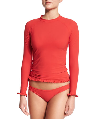 Ruffle Twist Long-Sleeve Rashguard, Strappy Bralette Swim Top & Basic Hip Pant Swim Bottom, Cherry