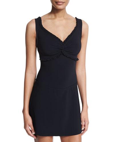 Ruffle Twist One-Piece Swimsuit & Basic A-Line Swim Skirt, Black
