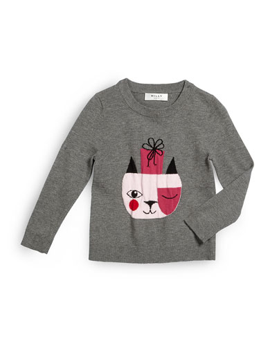 Holiday Cat Pullover Sweater, Gray