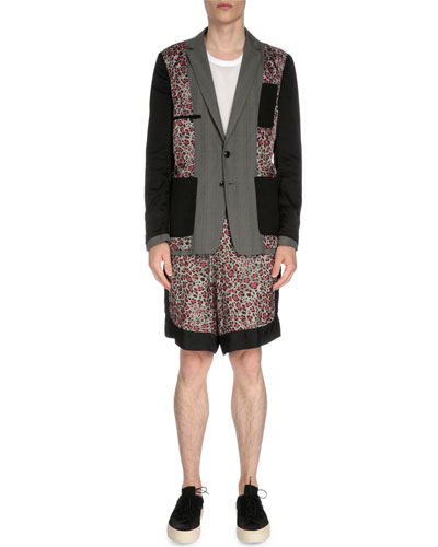 Reversible Leopard-Print Two-Button Jacket, Net Mesh Tank Top & Leopard-Print Drawstring Shorts