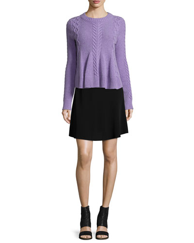 Swing Long-Sleeve Pullover Sweater & Brenda A-Line Skirt