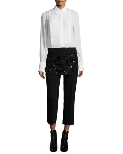 Silk Tuxedo Shirt with Eyelash Fringe & Cropped Apron Pants with Floral Embellishment
