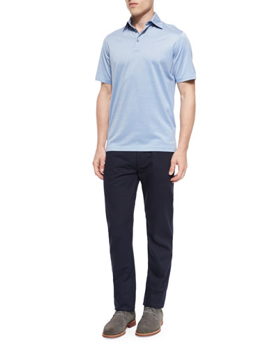 Cotton-Blend Polo Shirt & Five-Pocket Twill Pants