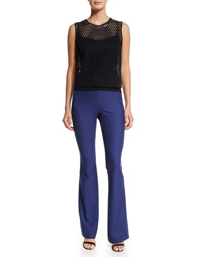 Sasha Sleeveless Net-Overlay Blouse & Marg High-Waist Flare-Leg Pants