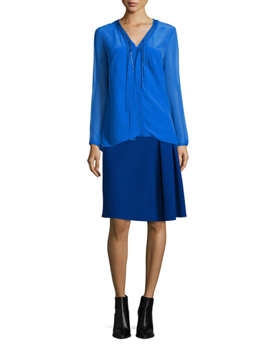 Emmy Long-Sleeve Tie-Neck Blouse & Mirella Two-Zip Side-Pleated Skirt