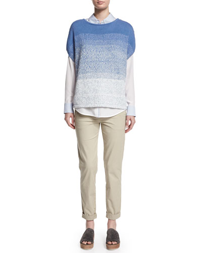 Textured Ombre Cocoon Sweater, Layered Striped Button-Down Shirt & Twill Boyfriend Trousers
