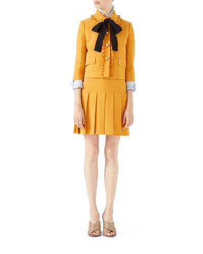 Silk-Wool Jacket, Washed Oxford Shirt & Silk-Wool Pleated Mini Skirt