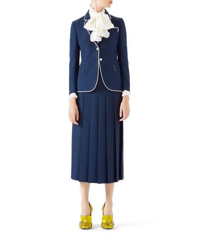Silk-Wool Jacket, Silk Button-Down Shirt & Wool-Silk Pleated Skirt