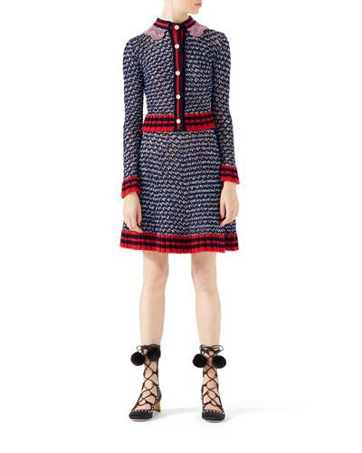 Metallic-Blend Cardigan with Web & Metallic-Blend Skirt with Web Detail