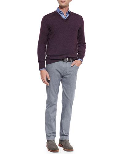 Wool-Blend V-Neck Sweater, Circle-Print Sport Shirt & Slim-Fit Denim Jeans