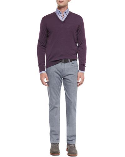 High-Performance Wool Sweater, Bengal-Stripe Sport Shirt & Slim-Fit Denim Jeans