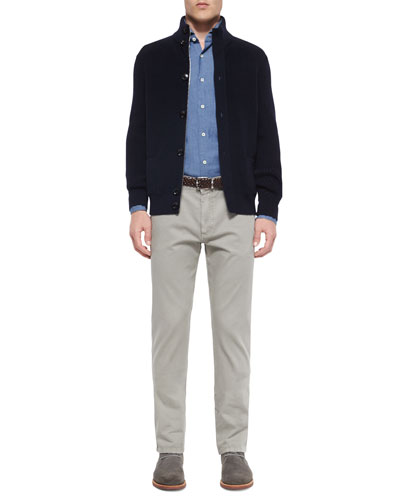 Button-Front Wool Cardigan, Jacquard Denim Sport Shirt & Five-Pocket Straight-Leg Denim Jeans