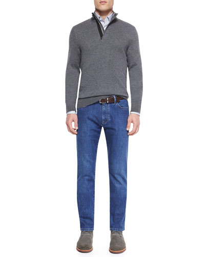 Cashmere-Blend Textured Pullover, Striped Woven Sport Shirt & Slim Fit Stretch-Denim Jeans