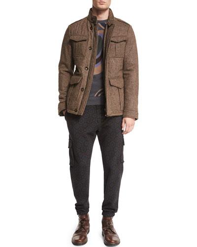 Herringbone Wool Safari Jacket, Swirl-Print Crewneck Cashmere Sweater & Medallion-Print Knit Jogger Pants