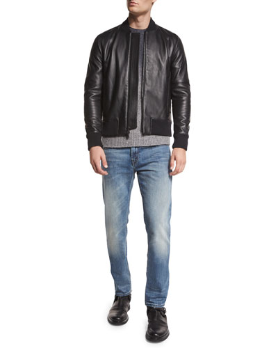 Sterne Leather Bomber Jacket, Hayes Dip-Dyed Merino Wool Sweater & Bellham Short-Sleeve Tee & Tyler Faded Denim Jeans