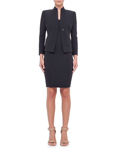 Temptation Wool-Blend One-Button Jacket, Sleeveless Notched Stand-Collar Blouse & Double-Face Wool Skirt