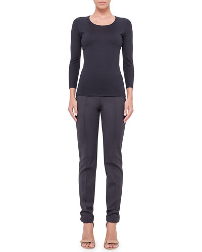 Fitted 3/4-Sleeve Stretch-Jersey Top & Melissa Skinny Techno Pants