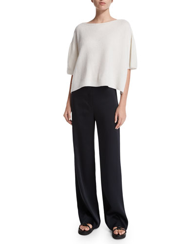 Cropped Boxy Cashmere Sweater & Woven Wide-Leg Pants