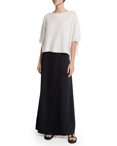 Cropped Boxy Cashmere Sweater & Woven Bias-Cut Maxi Skirt
