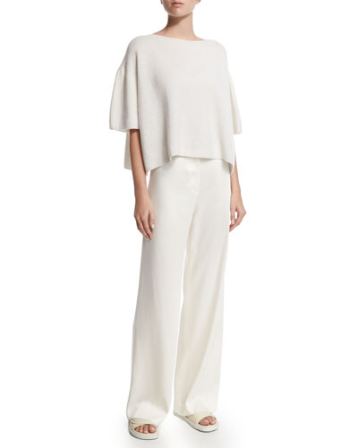 Cropped Cashmere Sweater & Woven Wide-Leg Pants
