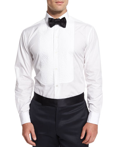 Basic Pleated Cotton Dress Shirt & Silk Bow Tie