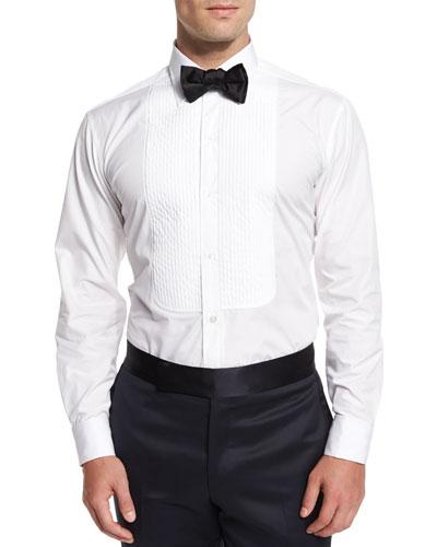 Basic Pleated Cotton Dress Shirt & Silk Bow Tie