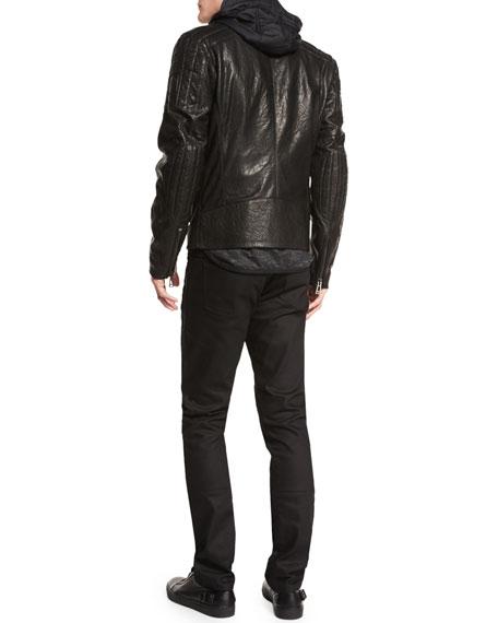Archer Coated Leather Jacket, Black
