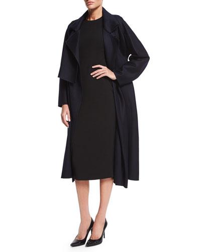 Oversized Double Cashmere Trenchcoat & Half-Sleeve Crepe Sheath Dress