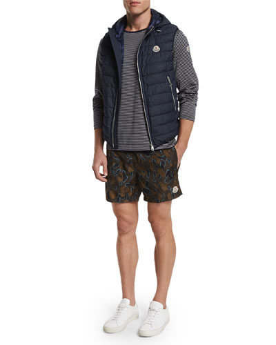 Dover Quilted Vest with Hood, Striped Long-Sleeve Tee & Camo-Print Swim Trunks
