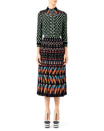 Four Leaf Clover Silk Shirt & Exotic Printed Crepe de Chine Skirt