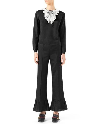 Trompe l'Oeil Sequin Knit Top & Silk Habutai Ruffle-Cuff Pants