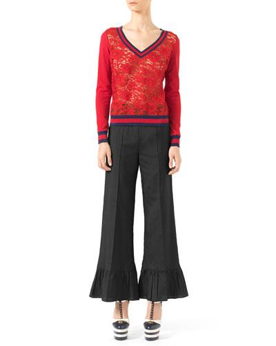 Stretch-Cotton and Lace Knit Top & Silk Habutai Ruffle-Cuff Pants