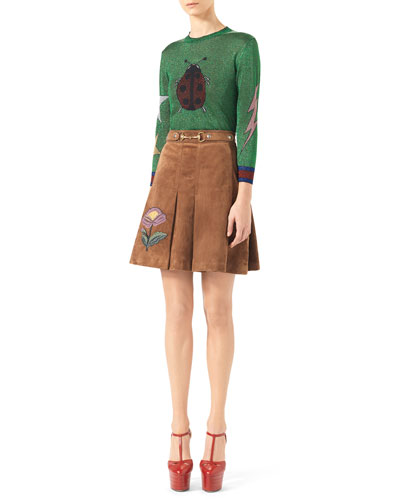 Shiny Ladybug Knit Top & Embroidered Suede Horsebit Skirt