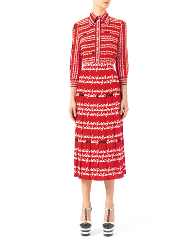 Gucci-Print Silk Shirt & Exotic Printed Silk Pleated Skirt