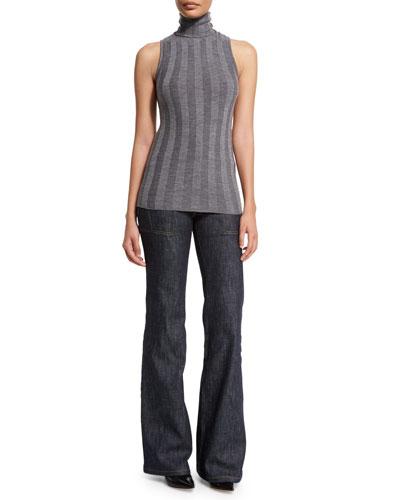 Sleeveless Turtleneck Striped Sweater & High-Waist Wide-Leg Denim Trousers