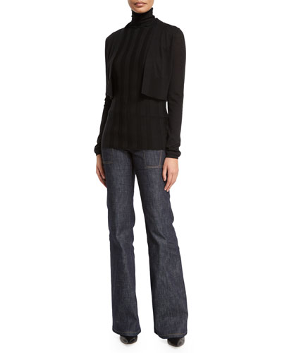 Long-Sleeve Cropped Cardigan, Sleeveless Turtleneck Ribbed Shell & High-Waist Wide-Leg Denim Trousers,