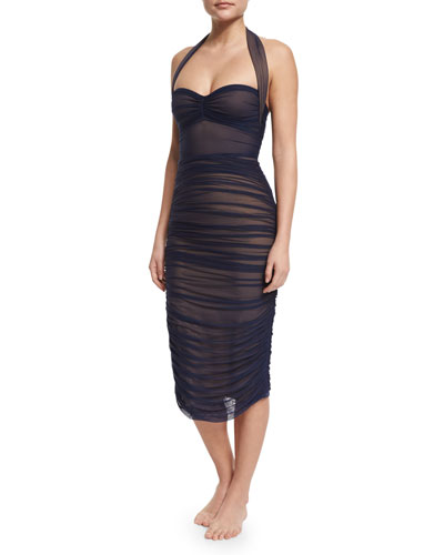 Bill Mio Sheer-Mesh One-Piece Swimsuit & Ruched Mid-Calf Coverup Skirt, Midnight