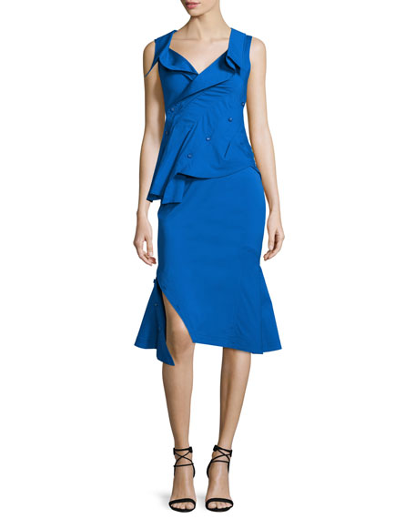Sleeveless Asymmetric-Button Peplum Blouse, Cobalt