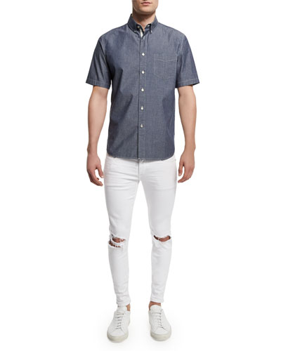 Standard Issue Woven Short-Sleeve Shirt & Low-Rise Distressed Skinny Jeans