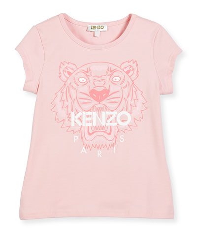 Short-Sleeve Tiger Jersey Tee, Light Pink, Size 2-5