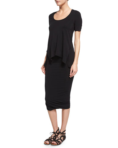 Short-Sleeve Scoop-Neck Tee & Twist-Hem Tube Skirt