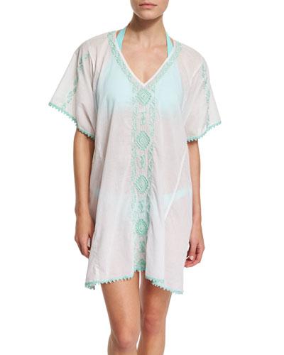Mystique Embroidered Caftan Coverup, Halter Swim Top & Tie-Side Swim Bottom