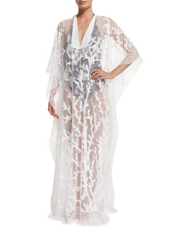 Printed-Mesh Long Caftan Coverup & Sirene and Marinai Plunge-Neck Printed One-Piece Swimsuit