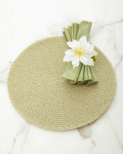 Two-Tone Twist Triple-Braid Placemat, Wide Herringbone Napkin, & Single Clematis Napkin Ring